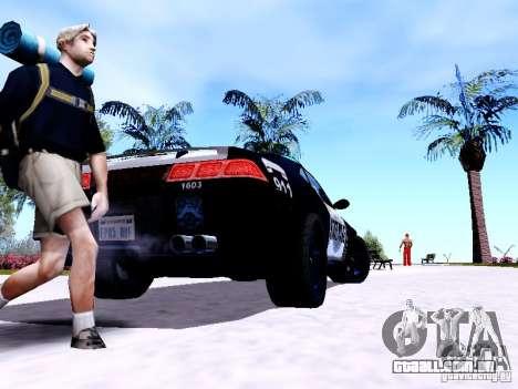 NFS Undercover Cop Car MUS para GTA San Andreas traseira esquerda vista