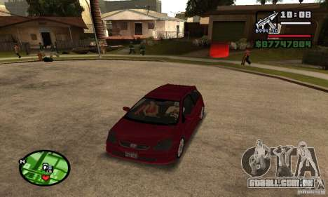 Honda Civic Type R stock para GTA San Andreas esquerda vista