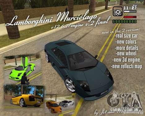 Lamborghini Murcielago V12 6,2L para GTA Vice City vista traseira