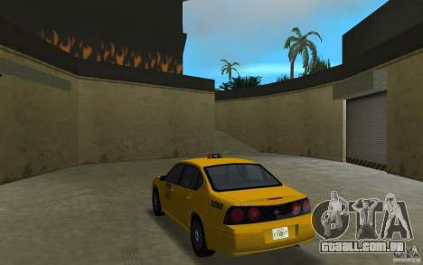 Chevrolet Impala Taxi para GTA Vice City vista traseira esquerda