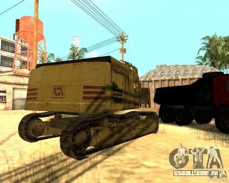Máquina escavadora para GTA San Andreas vista direita