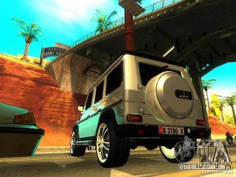 Mercedes-Benz G500 ART para GTA San Andreas traseira esquerda vista