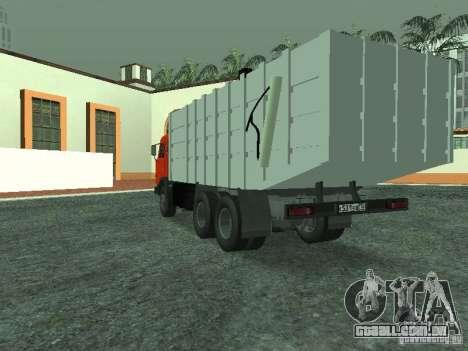 Caminhão de lixo 53215 KAMAZ para GTA San Andreas traseira esquerda vista