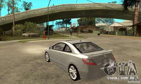 Honda Civic Si - Stock para GTA San Andreas traseira esquerda vista