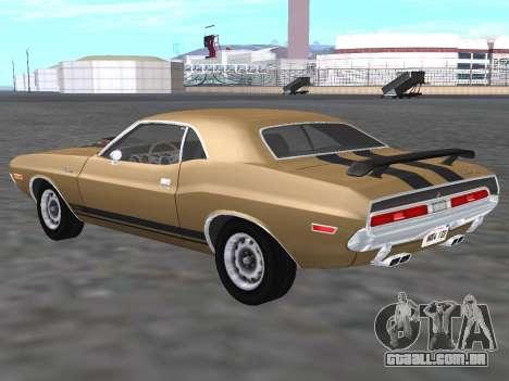 Dodge Challenger 440 Six Pack 1970 para GTA San Andreas traseira esquerda vista