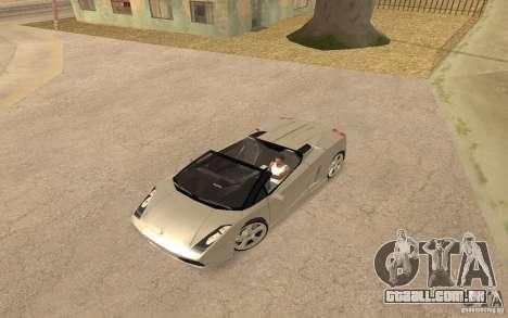 Lamborghini Galardo Spider para GTA San Andreas traseira esquerda vista