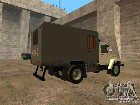 GAZ 3309 camburão para GTA San Andreas traseira esquerda vista