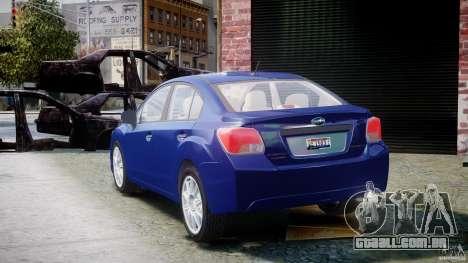 Subaru Impreza Sedan 2012 para GTA 4 traseira esquerda vista