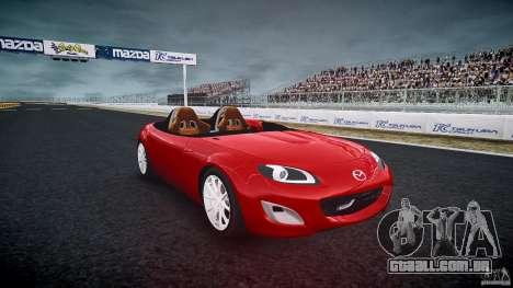 Mazda Miata MX5 Superlight 2009 para GTA 4 vista de volta