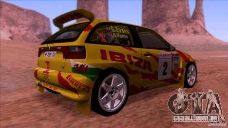 Seat Ibiza Rally para GTA San Andreas vista interior
