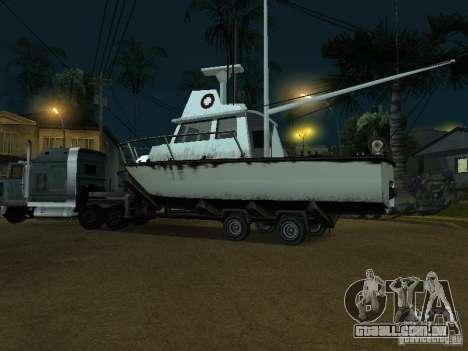 Reboque de barcos para GTA San Andreas traseira esquerda vista