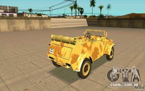 Kuebelwagen v2.0 desert para GTA San Andreas traseira esquerda vista