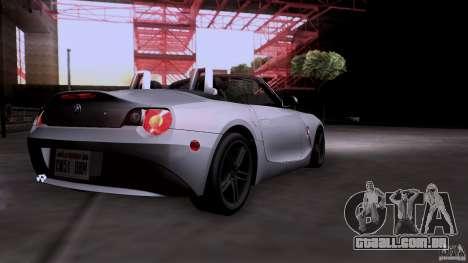 BMW Z4 V10 para GTA San Andreas vista traseira