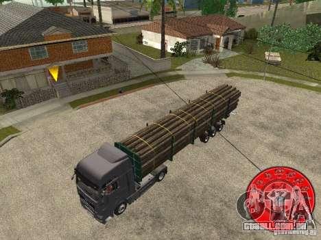 O portador de madeira reboque KRONE para GTA San Andreas traseira esquerda vista