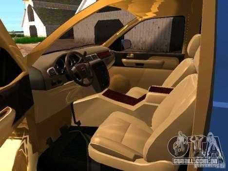GMC Yukon Denali XL para GTA San Andreas vista interior