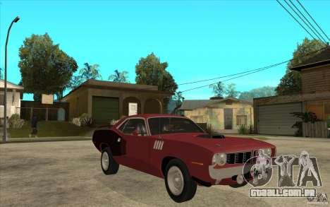Plymouth Cuda 426 para GTA San Andreas vista traseira
