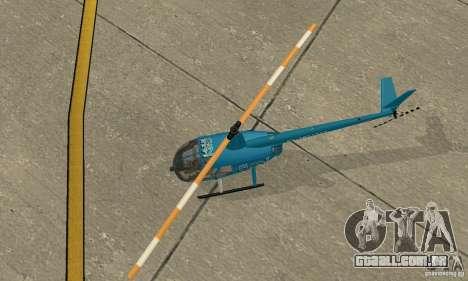 Robinson R44 Raven II NC 1.0 TV para GTA San Andreas vista traseira