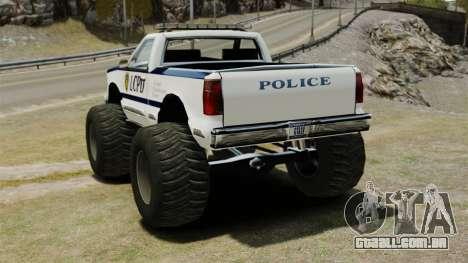 Policial Monster Truck ELS para GTA 4 traseira esquerda vista