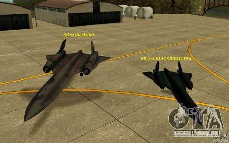 SR-71A BLACKBIRD BETA para GTA San Andreas vista superior