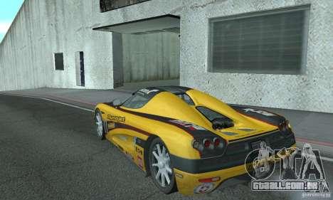 Koenigsegg CCX (v1.0.0) para GTA San Andreas traseira esquerda vista