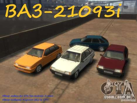VAZ 21093i o tuning completo para GTA 4 traseira esquerda vista