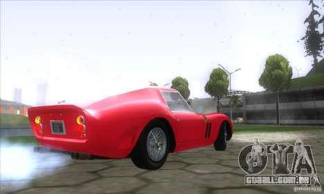 Ferrari 250 GTO 1962 para GTA San Andreas traseira esquerda vista
