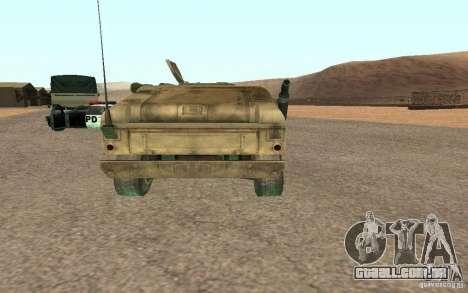 Hummer Spec Ops The Line para GTA San Andreas traseira esquerda vista