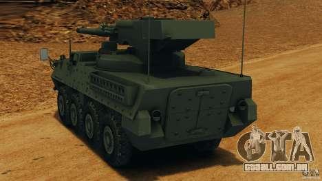 Stryker M1128 Mobile Gun System v1.0 para GTA 4 traseira esquerda vista