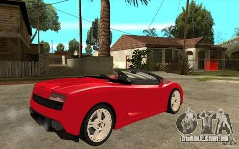 Lamborghini Gallardo LP560 Spider para GTA San Andreas vista direita