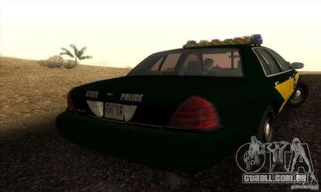 Ford Crown Victoria Indiana Police para GTA San Andreas esquerda vista