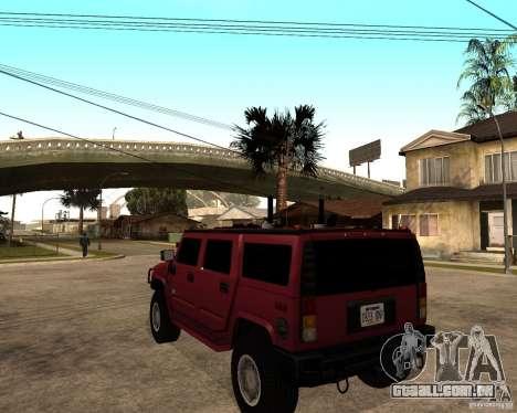 Hummer H2 SE para GTA San Andreas traseira esquerda vista