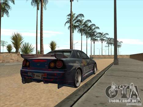 Nissan Skyline R34 VeilSide para GTA San Andreas vista traseira