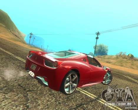Ferrari 458 Italia Convertible para GTA San Andreas vista direita