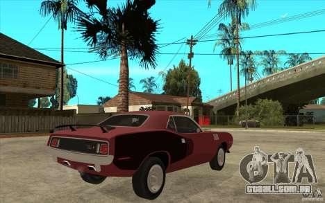 Plymouth Cuda 426 para GTA San Andreas vista direita