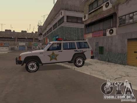 Jeep Cherokee Police 1988 para GTA San Andreas vista traseira