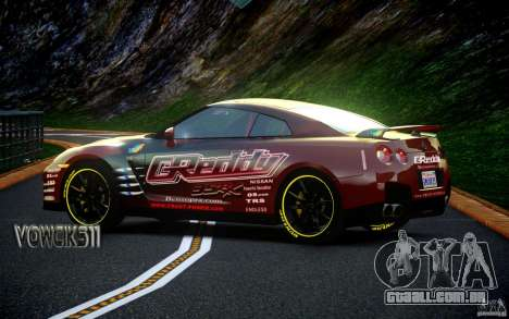 Nissan GT-R Black Edition GReddy para GTA 4 traseira esquerda vista