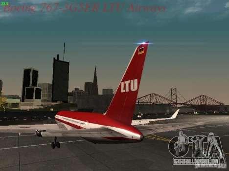 Boeing 767-3G5ER LTU Airways para GTA San Andreas traseira esquerda vista