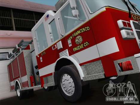 Pierce Pumpers. San Francisco Fire Departament para GTA San Andreas vista traseira