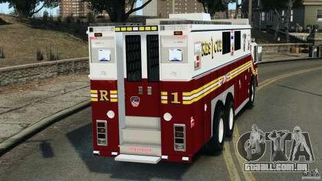 FDNY Rescue 1 [ELS] para GTA 4 traseira esquerda vista