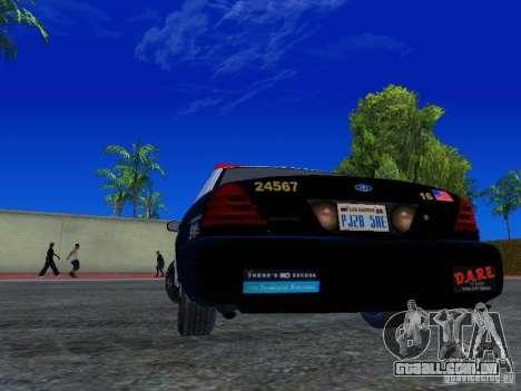 Ford Crown Victoria San Andreas State Patrol para GTA San Andreas traseira esquerda vista