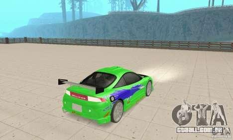 Mitsubishi Eclipse FnF para GTA San Andreas esquerda vista