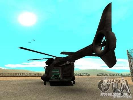 New Cargobob para GTA San Andreas traseira esquerda vista
