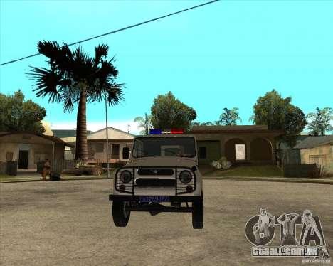 UAZ 31514 patrulha para GTA San Andreas vista traseira