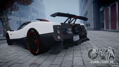 Pagani Zonda Cinque Roadster para GTA 4 traseira esquerda vista