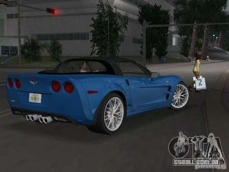 Chevrolet Corvette ZR1 para GTA Vice City vista traseira esquerda
