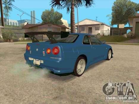 Nissan Skyline GT-R BNR34 Tunable para GTA San Andreas vista interior