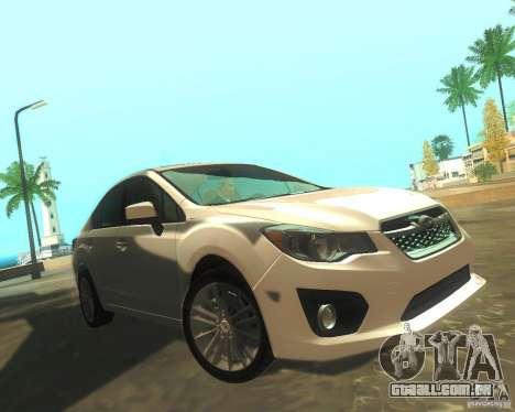 Subaru Impreza Sedan 2012 para GTA San Andreas esquerda vista