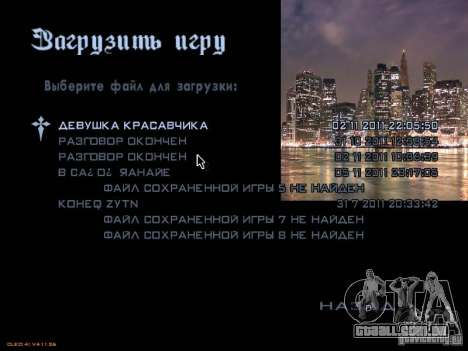 Novo menu no estilo de Nova Iorque para GTA San Andreas sétima tela
