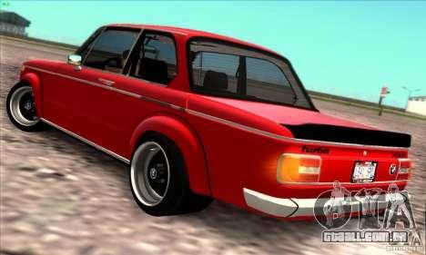 BMW 2002 Turbo para GTA San Andreas vista traseira