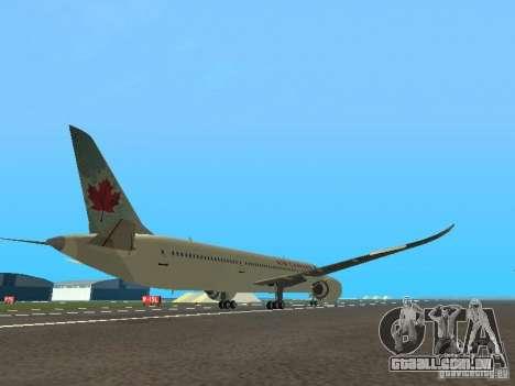 Boeing 787 Dreamliner Air Canada para GTA San Andreas vista direita